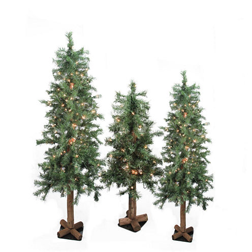 Set of 3 Pre-Lit Woodland Alpine Artificial Christmas Trees 4' 5 and 6'' with Clear