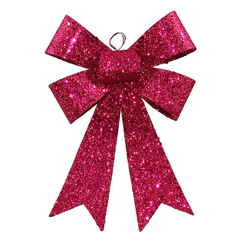 """7"""" Cerise Pink Sequin And Glitter Bow Christmas Ornament"""""""