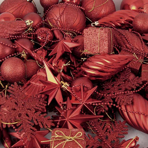 125 Piece Club Pack Of Shatterproof Candy Apple Red Ornaments