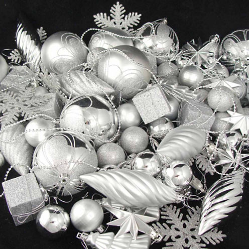 125 Piece Club Pack Of Shatterproof Silver Splendor Ornaments