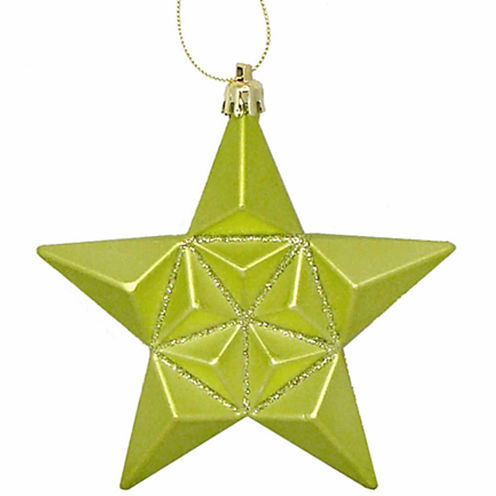 "12Ct 5"" Matte Green Kiwi Glittered Star Shatterproof Ornaments"""