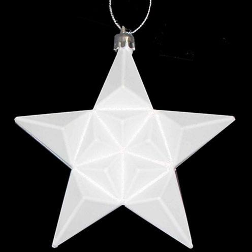 "12 Ct 5"" Matte Winter White Glittered Star Shatterproof Ornaments"""