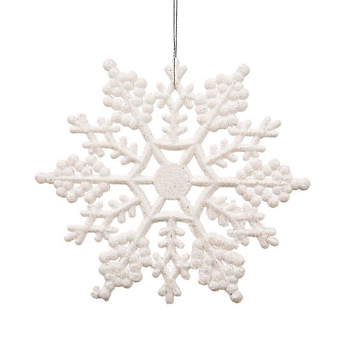 "Club Pack Of 24 3.75"" Shimmering Winter White Glitter Snowflake Ornaments"""