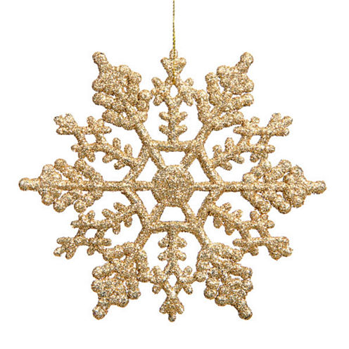 "Club Pack Of 24 3.75"" Shimmering Gold Glitter Snowflake Ornaments"""