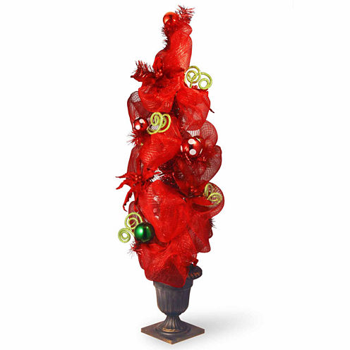National Tree Co. 4 Foot Decorative Collection Red Ribbon Entrance Christmas Tree