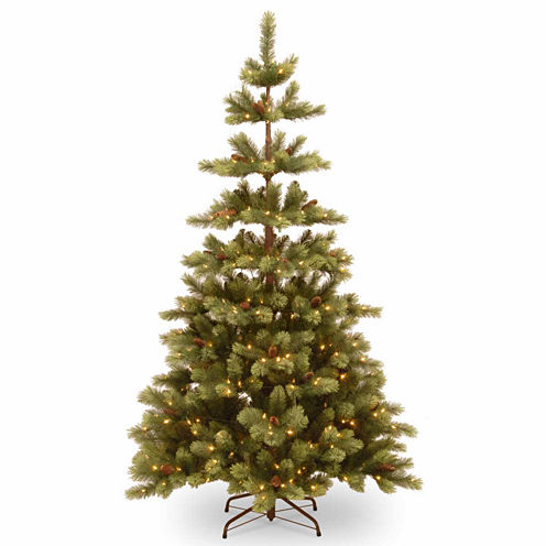 National Tree Co. 7 1/2 Foot Woodland Carolina Pine Pre-Lit Christmas Tree