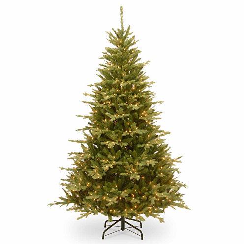 "National Tree Co. 7 1/2 Foot Feel-Real"" Cambridge Fir Hinged"" Pre-Lit Christmas Tree"