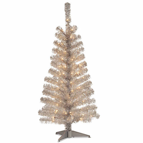 National Tree Co. 4 Foot Silver Tinsel Pre-Lit Christmas Tree