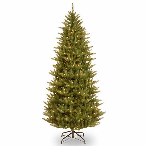 National Tree Co. 7 1/2 Foot Natural Frasier Slim Hinged Pre-Lit Christmas Tree