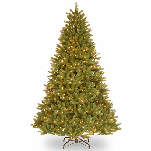 National Tree Co. 7 1/2 Foot Grande Fir Hinged Pre-Lit Christmas Tree