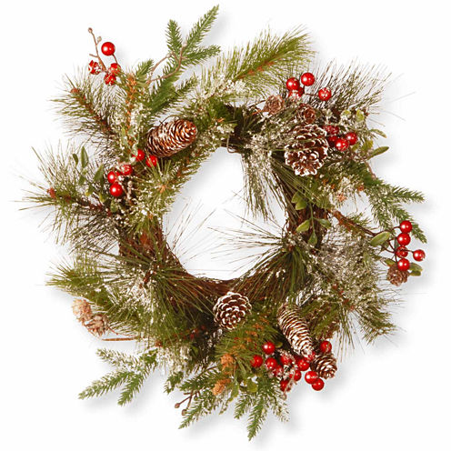National Tree Co. Pine Cones And Flocked Evergreen Indoor/Outdoor Christmas Wreath