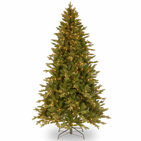 """National Tree Co. 6 1/2 Foot Feel-Real"""" Avalon Spruce Hinged"""" Pre-Lit Christmas Tree"""