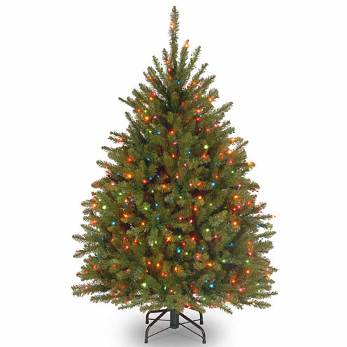 National Tree Co. 4 1/2 Foot Dunhill Fir Hinged Pre-Lit Christmas Tree