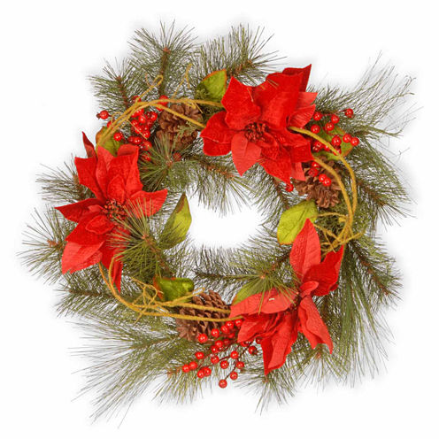 National Tree Co. Poinsettia Indoor/Outdoor Christmas Wreath