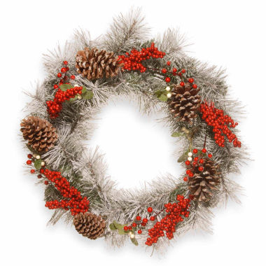 jcpenney.com | National Tree Co. Snowy Mixed Indoor/Outdoor Christmas Wreath