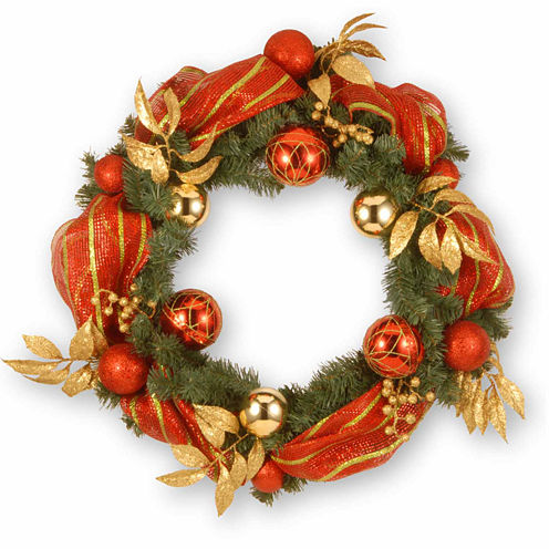 National Tree Co. Striped Ribbon Indoor/Outdoor Christmas Wreath