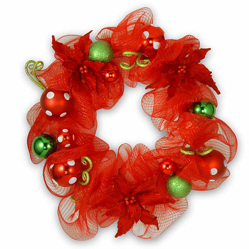 National Tree Co. Red Ribbon Indoor/Outdoor Christmas Wreath