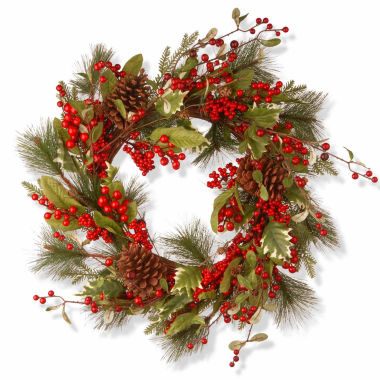 jcpenney.com | National Tree Co. Red Berries Evergreen Indoor/Outdoor Christmas Wreath