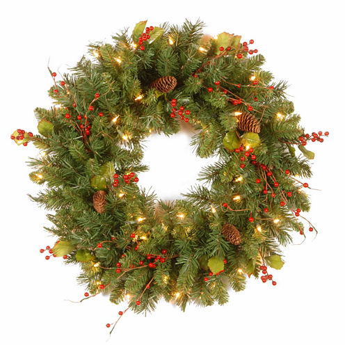 National Tree Co. Holly Leaves Indoor/Outdoor Christmas Wreath