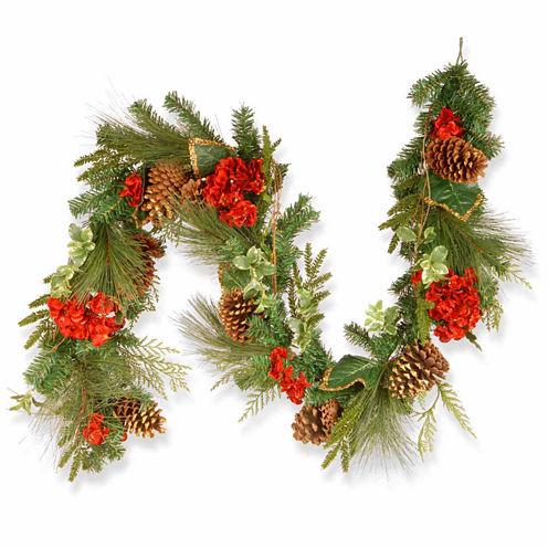 National Tree Co. Hydrangea And Evergreen Christmas Garland