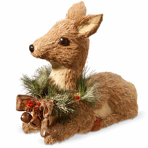 National Tree Co. Handcrafted Straw Sitting Deer Animal Figurines