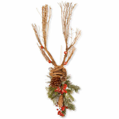 jcpenney.com | National Tree Co Handcrafted Wood Deer With Pine Cones Animal Figurines