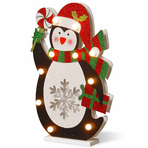 National Tree Co. Fabric Penguin Holding Lollypop Animal Figurines