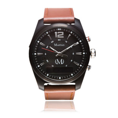 jcpenney.com | Martian Mens mVoice AE 02 Brown Leather Band Black Dial Smart Watch-Mvr03ae021