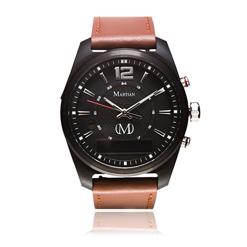 Martian Mens mVoice AE 02 Brown Leather Band Black Dial Smart Watch-Mvr03ae021