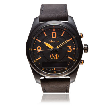 jcpenney.com | Martian Mens Black Dial Black Leather Band Smart Watch-Mvr03pl021
