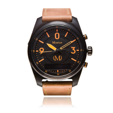 jcpenney.com | Martian Mens Black Dial Orange Leather Band Smart Watch-Mvr03pl031