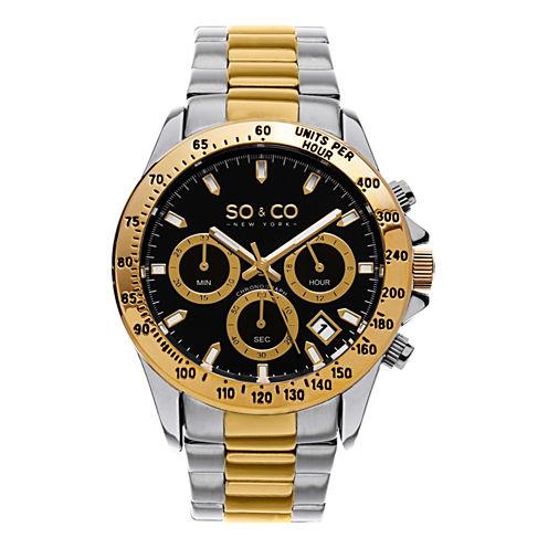 So & Co Mens Silver Tone Bracelet Watch-Jp15580