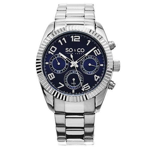 So & Co Mens Silver Tone Bracelet Watch-Jp15101