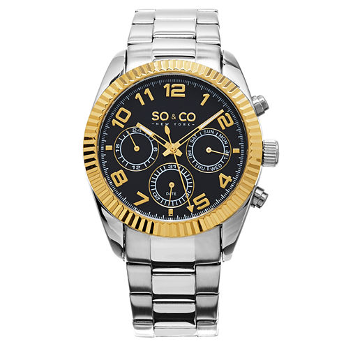 So & Co Mens Silver Tone Bracelet Watch-Jp15102