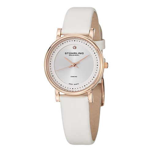 Stuhrling Womens White Strap Watch-Sp13079