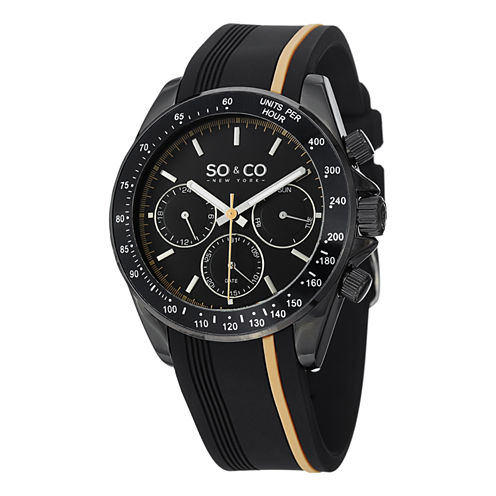 So & Co Mens Black Strap Watch-Jp15089