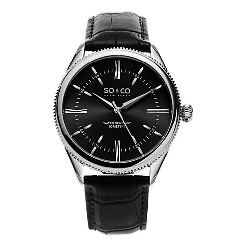 So & Co Mens Black Strap Watch-Jp15408