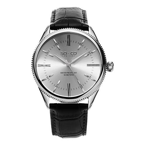 So & Co Mens Black Strap Watch-Jp15409