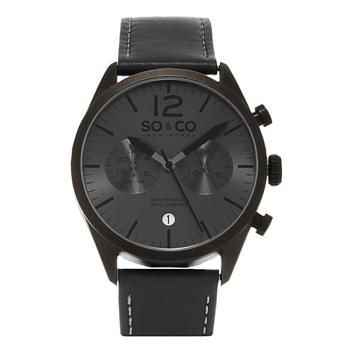 So & Co Mens Gray Strap Watch-Jp15450
