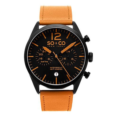 So & Co Mens Orange Strap Watch-Jp15452