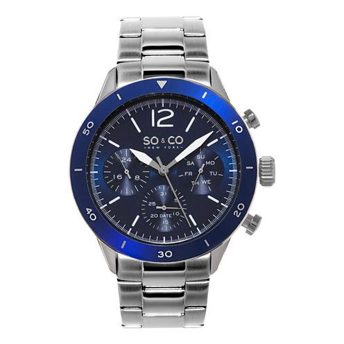 So & Co Mens Silver Tone Bracelet Watch-Jp15457