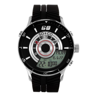 jcpenney.com | So & Co Mens Black Strap Watch-Jp15516