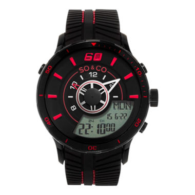 jcpenney.com | So & Co Mens Black Strap Watch-Jp15519