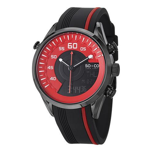 So & Co Mens Black Strap Watch-Jp15200