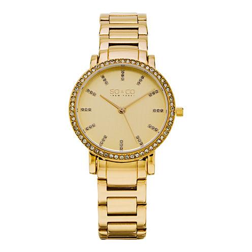 So & Co Womens Gold Tone Bracelet Watch-Jp15530