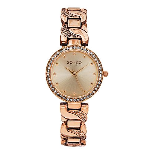 So & Co Womens Rose Goldtone Bracelet Watch-Jp15583