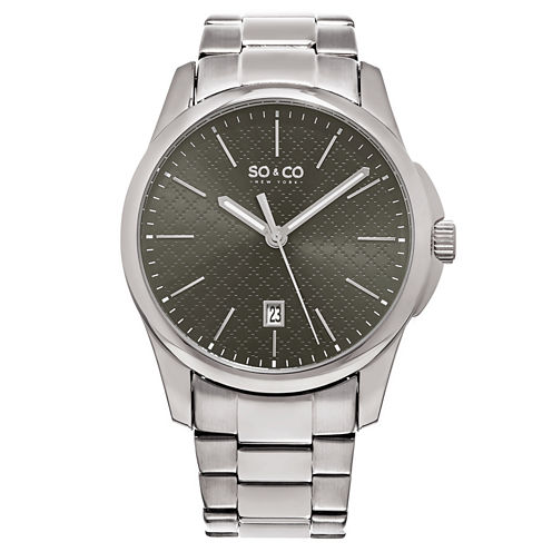 So & Co Mens Silver Tone Bracelet Watch-Jp15883