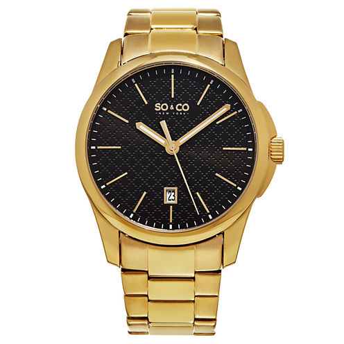 So & Co Mens Gold Tone Bracelet Watch-Jp15885