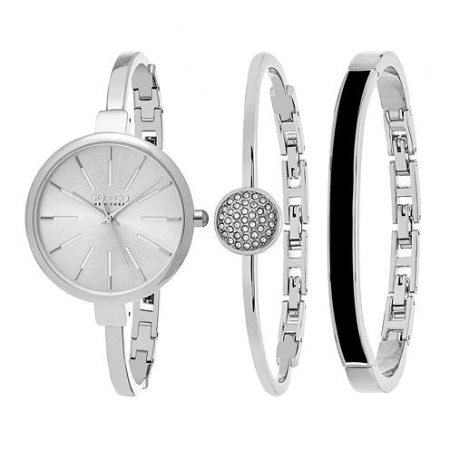 So & Co Womens Silver Tone Bracelet Watch-Jp16145