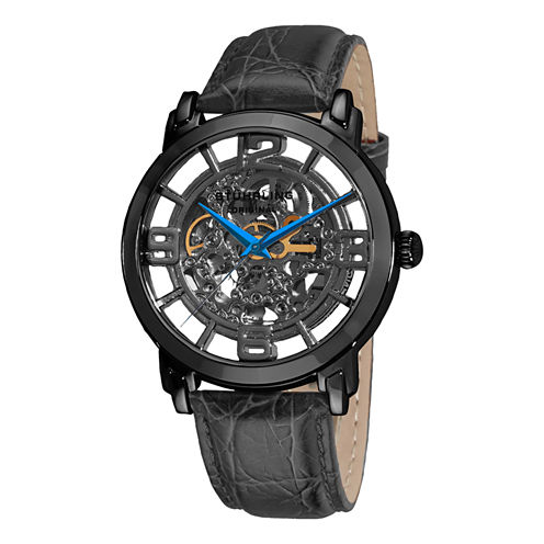 Stuhrling Mens Black Strap Watch-Sp11337